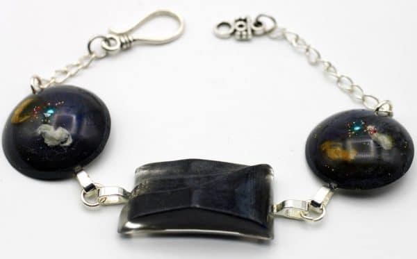 Bracelet Anna en résine femme, noir Fabriqué par Adaval Bijoux